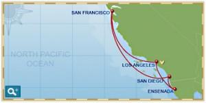 7 Night Disney Pacific Coast Cruise Itinerary Map