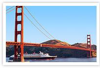 Disney Wonder Sailing Under teh Golden Gate Bridge