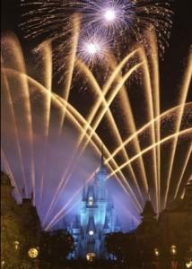 Disney Fireworks Displayed over Cinderella's Castle