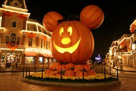 Giant Mickey pumpkin in center of Main Street, U.S.A.