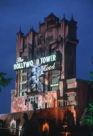 Night view of Disney California Adventure Tower of Terror